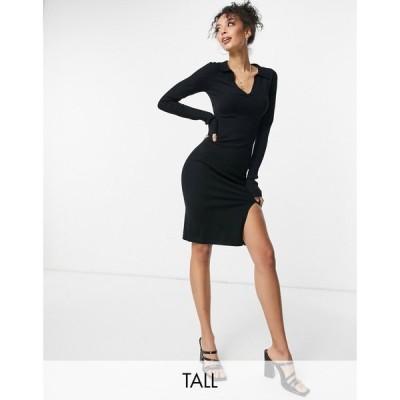フォース&レックレス 4th & Reckless Tall レディース ワンピース knitted plunge front jumper dress with collar in black ブラック