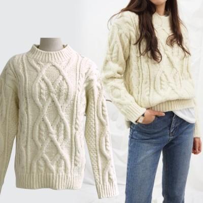 韓国ファッション レディース 韓国 服 大人 ニット トップス 冬服 4色 ベージュ ホワイト 白