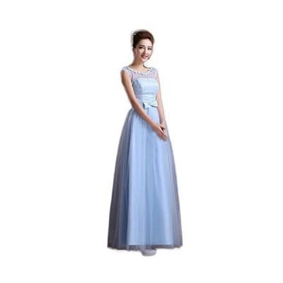 【シンプル 小花 ロングドレス】水色とピンクと二種類から選べます。S?XLまでサイズ豊富 コンサート パーティ 謝恩会などに (XXL水色)