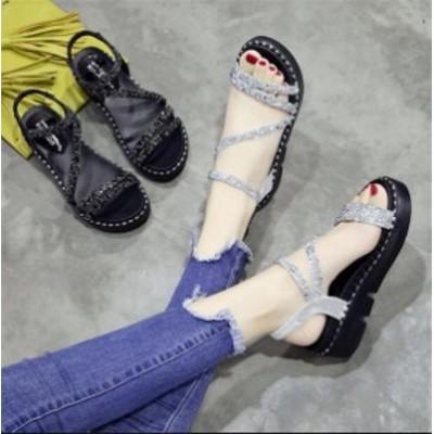 送料無料 春夏新作 厚底サンダル 厚底靴 ベルトサンダル レディース フラットシューズ ローヒール 美脚 歩きやすい