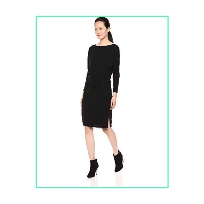 cupcakes and cashmere Women's Jenilee Textured Rib Knit Dress w/Boat Neck and Waist tie, Black, Large並行輸入品