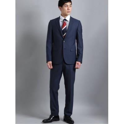 【タカキュー】 光沢ストレッチ スリムフィット2ボタン2ピーススーツ ストライプ 紺 メンズ ブルー Y6 TAKA-Q