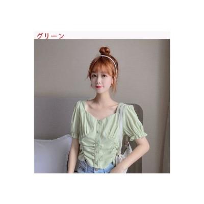 【送料無料】女 夏服 韓国風 折り畳む 着やせ 襟 ウェーブポイントホワイト シャツ | 364331_A63305-4749453