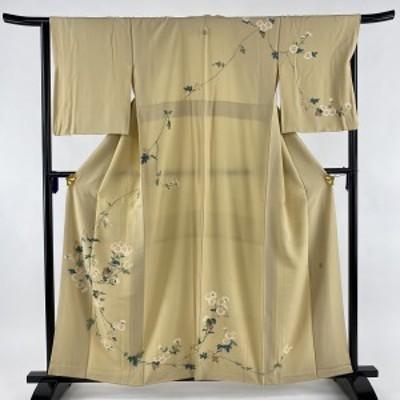 訪問着 秀品 落款 一つ紋 菊 ベージュ 袷 身丈158cm 裄丈66.5cm M 正絹 中古