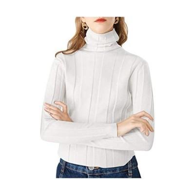 [ネコート] 6カラー ニット タートルネック ハイネック セーター シンプル 上品 大人 薄手 ユッタリ レディース (ホワイト XL)