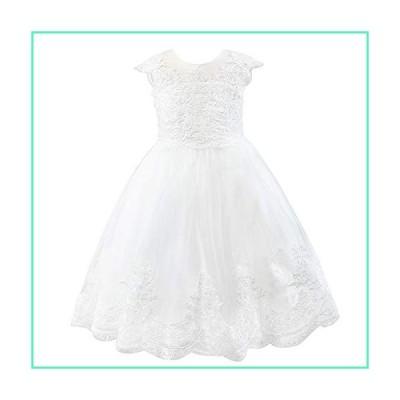 Miama Cap Sleeves Beaded Lace Tulle Wedding Flower Girl Dress Junior Bridesmaid Dress Ivory並行輸入品