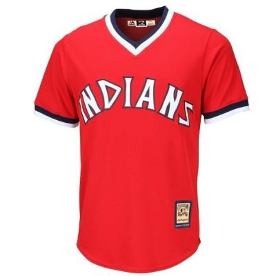 マジェスティック メンズ Tシャツ トップス Cleveland Indians Majestic Cooperstown Cool Base Team Jersey
