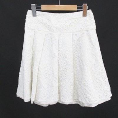 【中古】ミッシュマッシュ MISCH MASCH 総レース 刺繍 膝上 ミニ フレアスカート 36 S 白系 ホワイト 日本製 綿 裏地