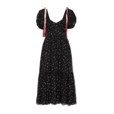 LOVESHACKFANCY 7分丈ワンピース・ドレス ブラック 6 シルク 100% 7分丈ワンピース・ドレス