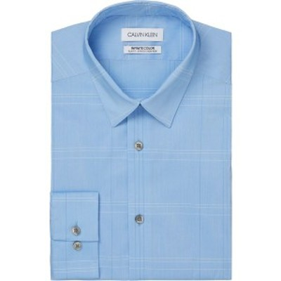 カルバンクライン メンズ シャツ トップス Men's Infinite Color Slim-Fit Non-Iron Performance Stretch Check Dress Shirt Blue