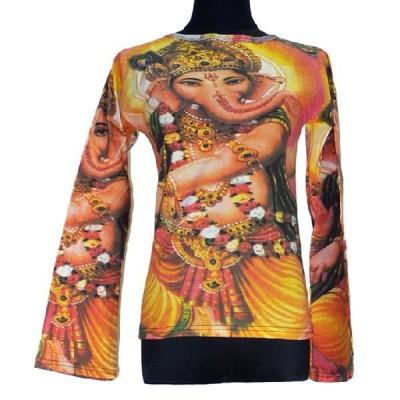 インドの神様Tシャツ ガネーシャ(長袖) ヒンドゥー アジアン エスニック雑貨 FU-F-TS60