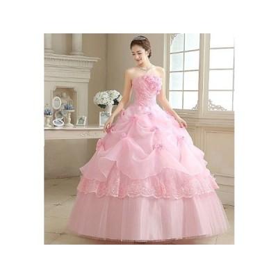 ウェディングドレス レース 花柄 ロング丈 30代 春 夏 ピンク 新婦 花嫁 パーティー ウェディング ゴージャス セクシー 大人 可愛い 上品
