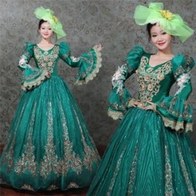 グリーンドレス オペラ声楽 中世貴族風豪華お姫様ドレス 舞台衣装やステージ衣装にピッタリのロング丈のプリンセスカラードレス