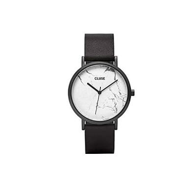 【新品・送料無料】CluseレディースLa Roche 38?mmブラックレザーバンドスチールケースクォーツホワイトダイヤルアナログ腕時計cl40002