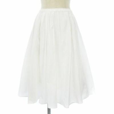 【中古】ドレステリア DRESSTERIOR スカート ひざ丈 フレア ギャザー 白 ホワイト IBS71 レディース