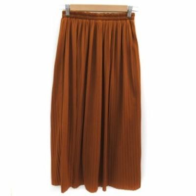 【中古】ダブルクローゼット w closet スカート プリーツ ロング丈 マキシ丈 F ブラウン /YK7  レディース