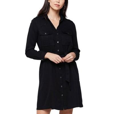 ヴェルヴェットハート レディース ワンピース トップス Erien Long Sleeve Button Front Dress BLACK