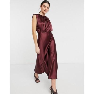 エイソス レディース ワンピース トップス ASOS DESIGN sleeveless satin shoulder pad mini dress in oxblood