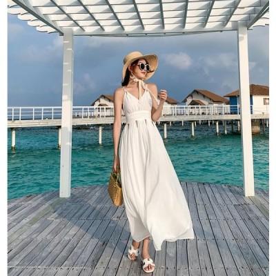 ホワイト ホルターネック サマードレス ワイドウエスト ウエストギャザー クロスバックストラップ オープンバック フェミニン ビーチ