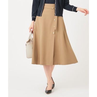 any SiS 【洗える】サイドボタンフレア スカート (キャメル)
