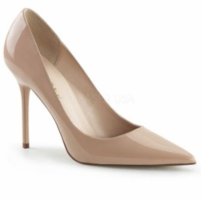 取寄 靴 PLEASER プリーザー ハイヒール パンプス レディース メンズ ポインテッドトゥ 10cm ピンヒール ヌード色 エナメル エレガント