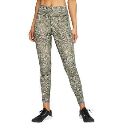 ナイキ カジュアルパンツ ボトムス レディース Nike Women's One Leopard Print Mid-Rise 7/8 Tights Black