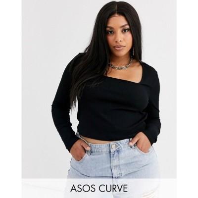 エイソス ASOS Curve レディース トップス asos design curve square neck top in black ブラック