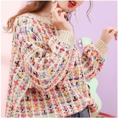 オルチャン服 ファッション オルチャン レディースファッション 韓国 可愛い ニット セーター プルオーバー カラフル
