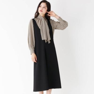 モディファイ Modify ウールフィールジャンパードレス (ブラック)
