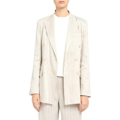 セオリー THEORY レディース ジャケット アウター Double Breasted Stripe Linen Blend Jacket Multi