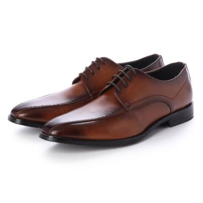 ジーノ Zeeno ビジネスシューズ メンズ 革靴 ロングノーズ 防滑 スワールモカシン レースアップ 外羽根 (Brown)
