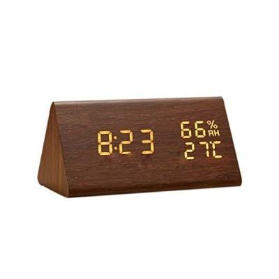 目覚まし時計 置き時計 デジタル 大きなLED数字表示 温度湿度計 カレンダー アラーム 振動/音感センサー 輝度調節 設定記憶 USB給電/電池 木