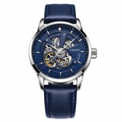OUBAOER メンズ腕時計 機械式 自動巻き スケルトン クラシック ビジネス フォーマル レザーバンド