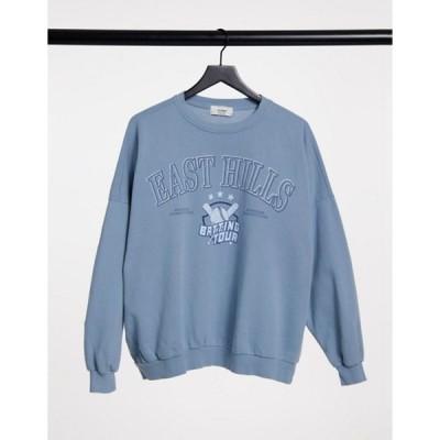 プルアンドベアー レディース シャツ トップス Pull&Bear varsity sweatshirt in washed blue