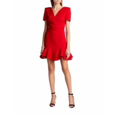 アレキサンダー・マックイーン レディース ワンピース トップス Wool-Blend Ruffle Mini Dress RED