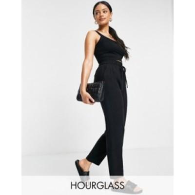 エイソス レディース カジュアルパンツ ボトムス ASOS DESIGN Hourglass linen relaxed tapered pants in black Black