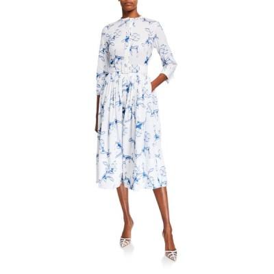 オスカー デ ラ レンタ レディース ワンピース トップス Floral Belted Cotton Poplin Shirtdress