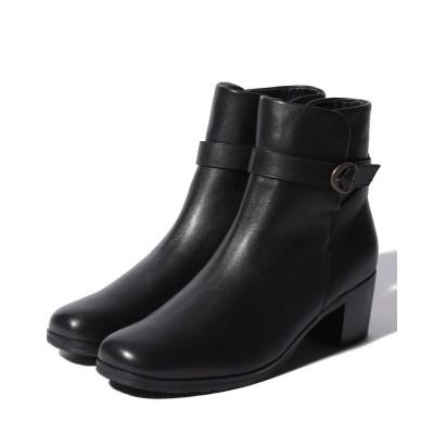 【イング(シューズ)】 ベルトデザインショートブーツ レディース ブラック 23cm ing