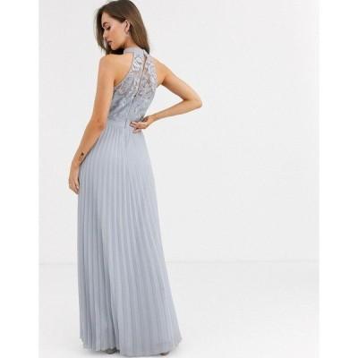 チチロンドン レディース ワンピース トップス Chi Chi London lace detail maxi dress with pleated skirt in gray Gray