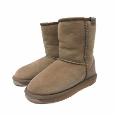 【中古】エミュー emu シープスキンブーツ スティンガーミニ ムートン ブーツ 24 茶 ブラウン 靴 レディース