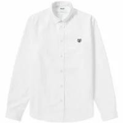 Kenzo メンズシャツ Kenzo Tiger Logo Twill Button Down Shirt White