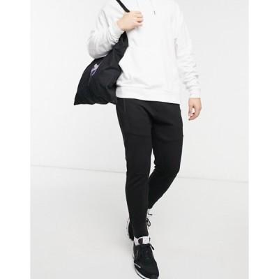 プルアンドベアー メンズ カジュアルパンツ ボトムス Pull&Bear ottoman textured sweatpants in black