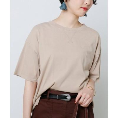 レイカズン Ray Cassin ZA ピグメント裾リブTシャツ (ベージュ)