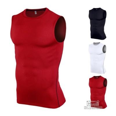 タンクトップ メンズ コンプレッションウェア ジャージ ストレッチ アンダーシャツ ノースリーブ フィットネス スポーツウェア