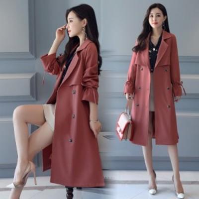トレンチ スプリングコート 袖リボン 春 ミディアム丈 #0760