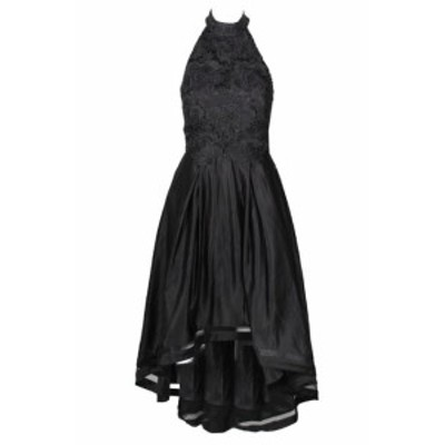 Adam  ファッション ドレス Betsy Adam Black Lace And Satin Mock-Neck Halter Hi-Lo Gown 10