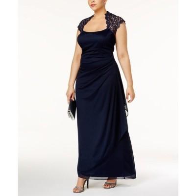 エスケープ ワンピース トップス レディース Plus Size Ruched Lace Gown Navy