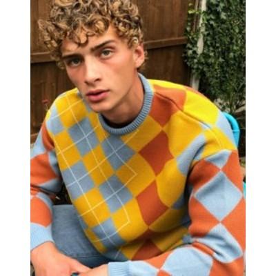 エイソス メンズ ニット・セーター アウター ASOS DESIGN knitted oversized sweater with argyle pattern Multi