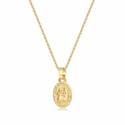 Saint Christopher Necklace 14K Gold Plated Coin Medallion Pendant Necklace Personalized Jewelry Gift for Women