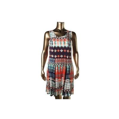 ドレス 女性  ニューヨークコレクション NY コレクション 6000 レディース ネイビー プリントed ノースリーブ カジュアル ドレス Plus 1X